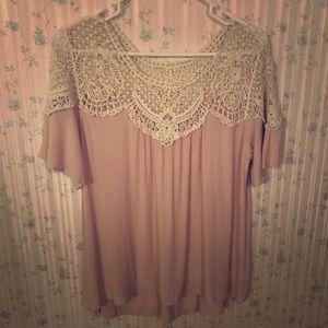 Chalk pink crocheted neckline top
